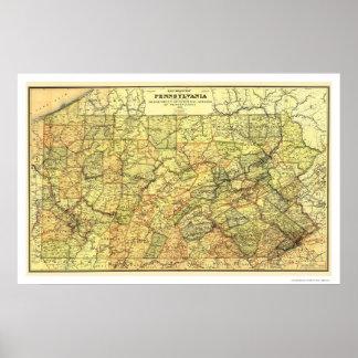 Mapa 1895 del ferrocarril de Pennsylvania Póster