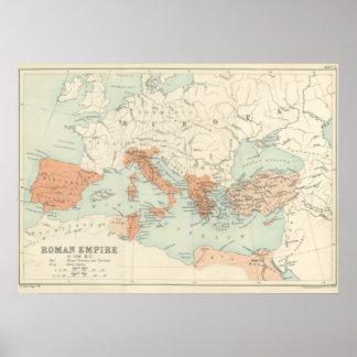 Mapa 1895 del imperio romano del vintage póster