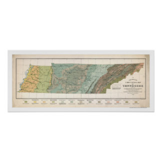 Mapa 1896 de la agricultura de Tennessee Póster