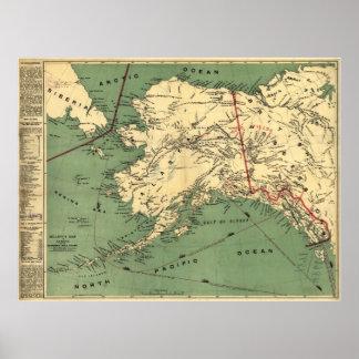 Mapa 1897 de Alaska Póster