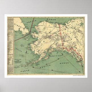 Mapa 1897 de los campos del oro de Alaska Póster