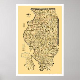 Mapa 1897 del ferrocarril de Illinois Poster