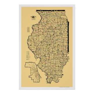Mapa 1897 del ferrocarril de Illinois Póster