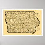 Mapa 1897 del ferrocarril de Iowa Poster