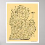 Mapa 1897 del ferrocarril de Michigan Póster
