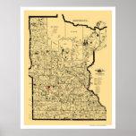 Mapa 1897 del ferrocarril de Minnesota Póster