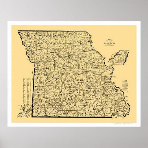 Mapa 1897 del ferrocarril de Missouri Posters