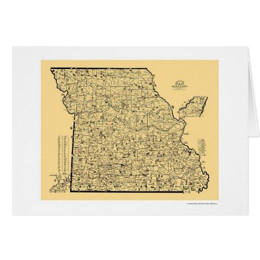 Mapa 1897 del ferrocarril de Missouri Tarjeta De Felicitación