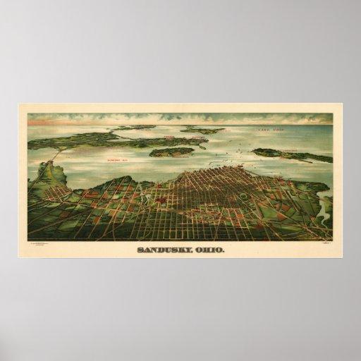 Mapa 1898 de Sandusky Ohio del vintage Póster