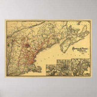 Mapa 1898 del ferrocarril de Boston y de Maine Póster