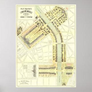 Mapa 1900 de la expo de París Posters