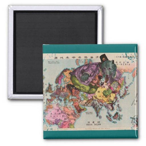 Mapa 1900 de la visión mundial imán de frigorífico