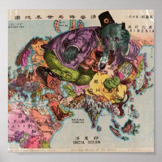 Mapa 1900 de la visión mundial póster