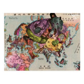 Mapa 1900 de la visión mundial tarjetas postales