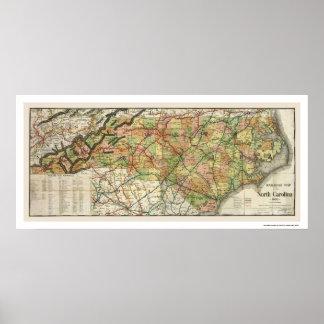 Mapa 1900 del ferrocarril de Carolina del Norte Póster