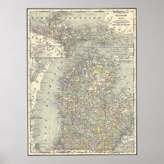 Mapa 1901 de Michigan Poster