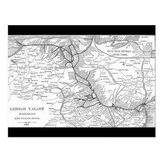 Mapa 1903 del ferrocarril del valle de Lehigh Tarjeta Postal
