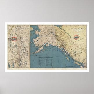 Mapa 1904 de Alaska del territorio del Yukón Póster