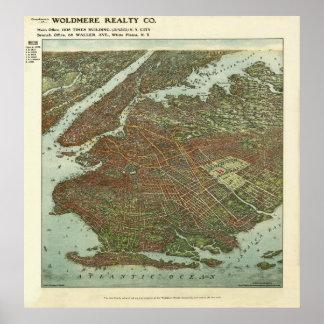 Mapa 1908 de la opinión del ojo de pájaro de Brook Póster