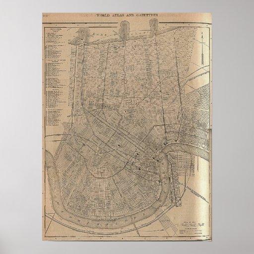 Mapa 1908 de New Orleans Póster