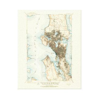 Mapa 1908 de Seattle--Lona envuelta Lienzo Envuelto Para Galerias