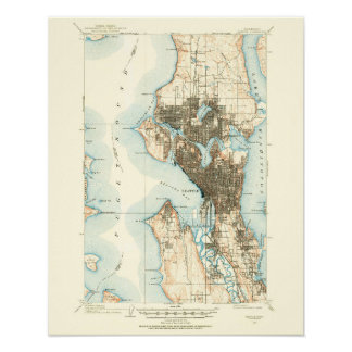 Mapa 1908 de Seattle--Papel archival Póster