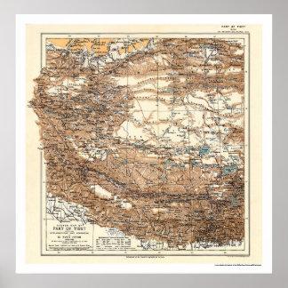 Mapa 1909 de la expedición de Tíbet Hedin Impresiones