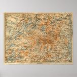 Mapa 1909 del Adirondacks de la guía del viaje del Poster