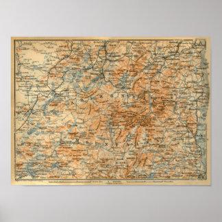 Mapa 1909 del Adirondacks de la guía del viaje del Posters