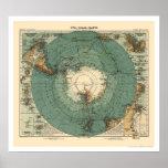 Mapa 1912 de la Antártida Poster