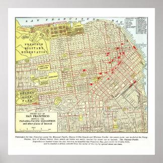 Mapa 1915 de San Francisco - poster