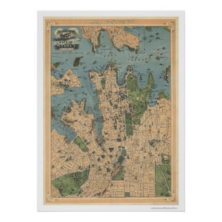 Mapa 1922 de Sydney Australia Poster