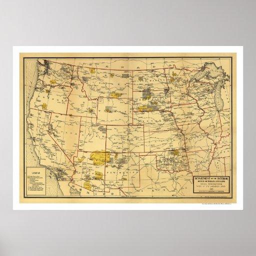 Mapa 1923 de la reserva india posters