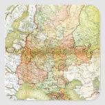 Mapa 1928 de Unión Soviética vieja URSS Rusia Pegatina Cuadrada