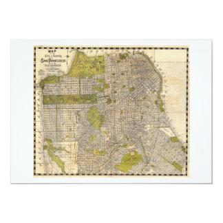 """Mapa 1932 de Candrain de San Francisco California Invitación 5"""" X 7"""""""