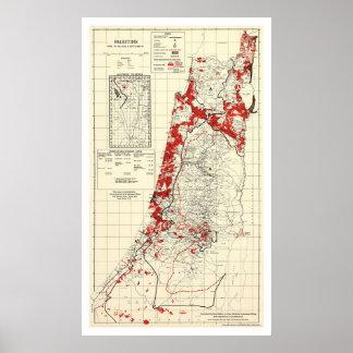 Mapa 1949 del pueblo de Palestina Impresiones