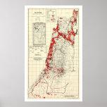 Mapa 1949 del pueblo de Palestina Póster