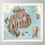 Mapa 1960 del parque nacional del Acadia Impresiones