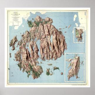 Mapa 1960 del parque nacional del Acadia Póster