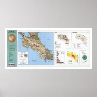 Mapa 1991 de Costa Rica Póster