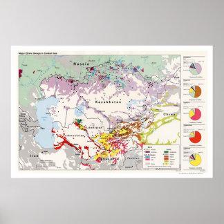 Mapa 1993 de Asia de los grupos étnicos Póster