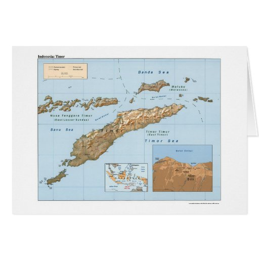 Mapa 1999 de Indonesia Timor Tarjeta De Felicitación