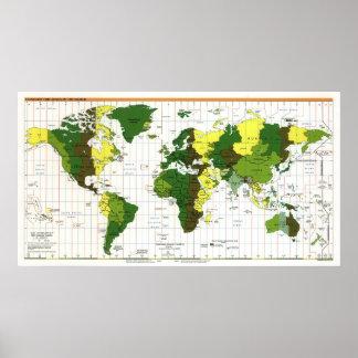Mapa 1999 de la zona horaria de la Cia del mundo Póster