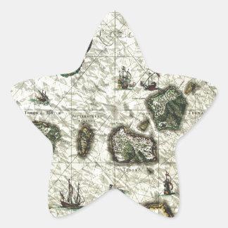 mapa 1 del vintage pegatina forma de estrella personalizadas