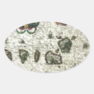 mapa 1 del vintage pegatina de óval personalizadas