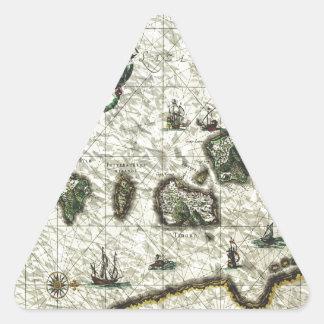 mapa 1 del vintage pegatina triangular