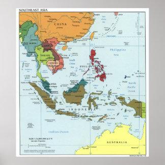 Mapa 2003 de Asia sudoriental Póster