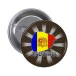 Mapa 2,0 de la bandera de Andorra Pin Redondo 5 Cm