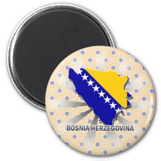 Mapa 2,0 de la bandera de Bosnia y Hercegovina Imán Redondo 5 Cm