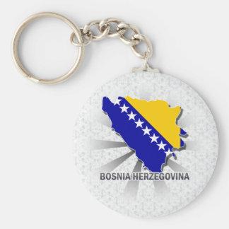 Mapa 2,0 de la bandera de Bosnia y Hercegovina Llaveros Personalizados